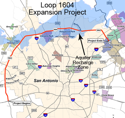 Map of Loop 1604 and US 281 expansion projects